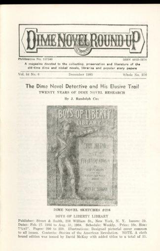 Dime Novel Roundup - #576 - 12/85 - FN - Edward T. LeBlanc