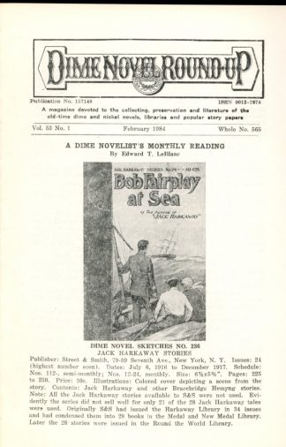 Dime Novel Roundup - #565 - 02/84 - FN - Edward T. LeBlanc