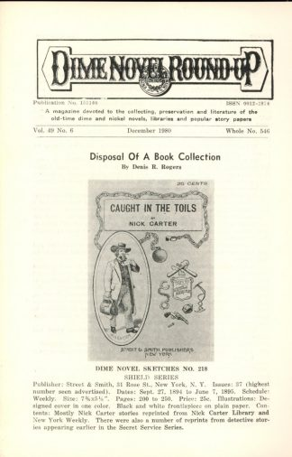 Dime Novel Roundup - #546 - 12/80 - FN - Edward T. LeBlanc