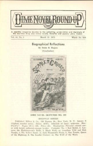Dime Novel Roundup - #510 - 03/15/75 - FN - Edward T. LeBlanc