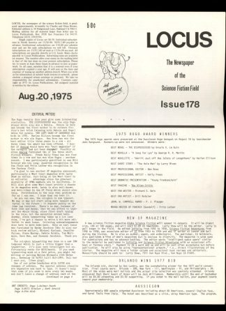 Locus - #178 - 08/20/75 - VG - Locus Publications