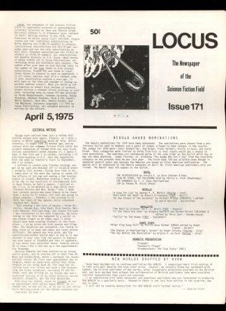 Locus - #171 - 04/05/75 - VG - Locus Publications