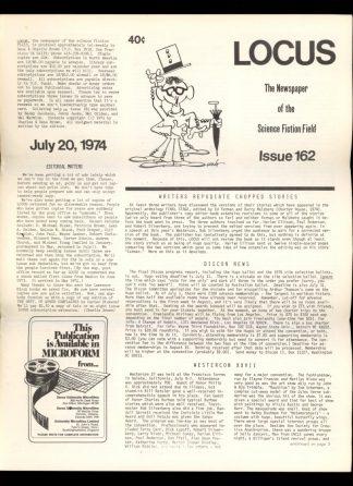 Locus - #162 - 07/20/74 - VG - Locus Publications