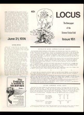 Locus - #161 - 06/21/74 - VG - Locus Publications