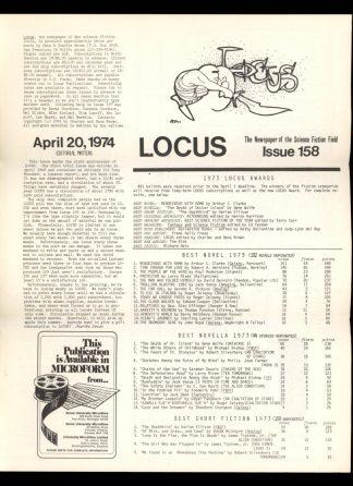 Locus - #158 - 04/20/74 - VG - Locus Publications