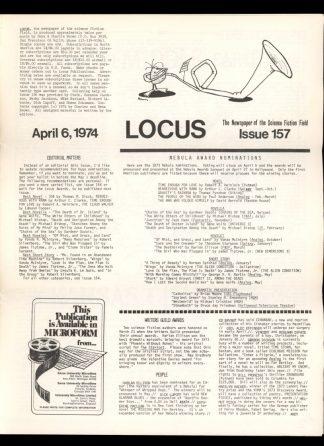 Locus - #157 - 04/06/74 - VG - Locus Publications