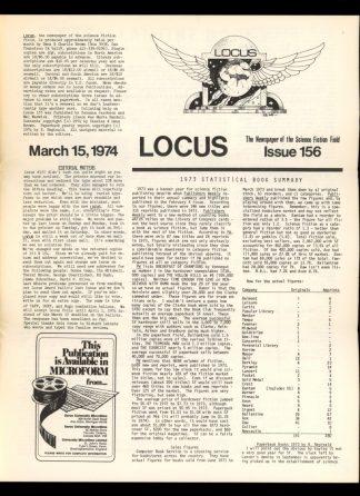 Locus - #156 - 03/15/74 - VG - Locus Publications