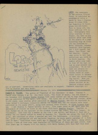 Locus - #154 - 01/26/74 - VG - Locus Publications