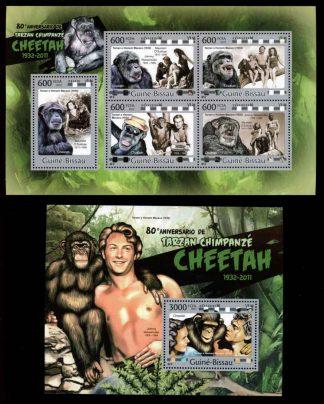 Guine-Bissau – Famous People Stamp – Tarzan - 2 PCS - -/10 - FN - 83-45493
